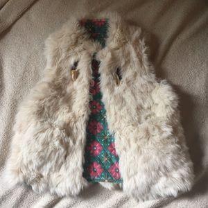 Matilda Jane white fur reversible vest